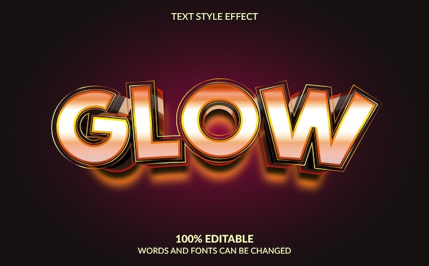 Editable text effect, glow text style