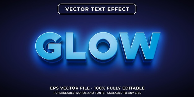 Editable text effect in glowing blue neon style