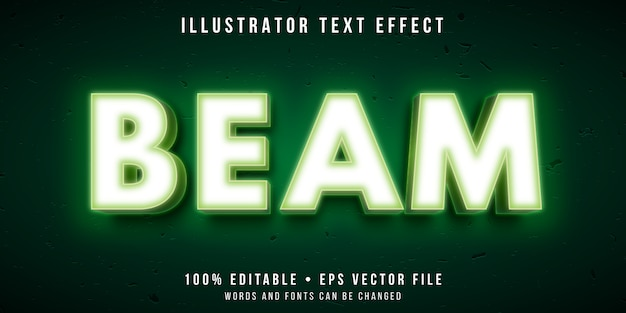 Editable text effect - glowing text style