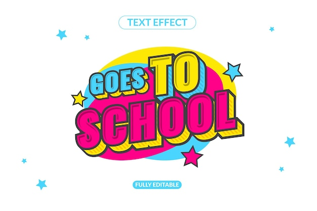Editable text effect goes to school effect style