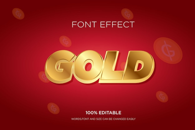Editable text effect gold 3d text effect for tittle free vector