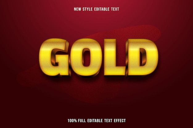 Editable text effect gold color gold and black