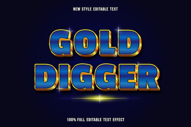 Editable text effect gold digger color blue and gold Premium Vector