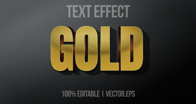 Editable text effect - gold game logo graphic style premium vector