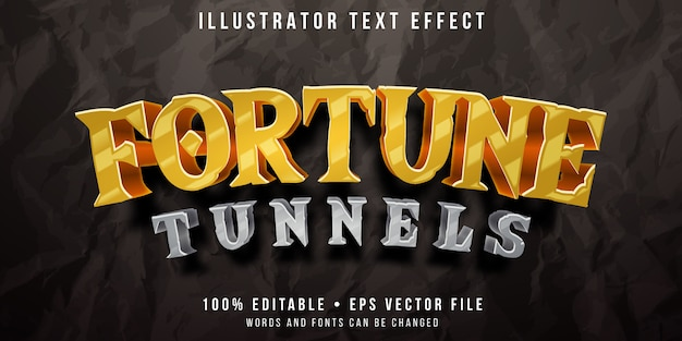 Editable text effect - gold hunt tunnel game style