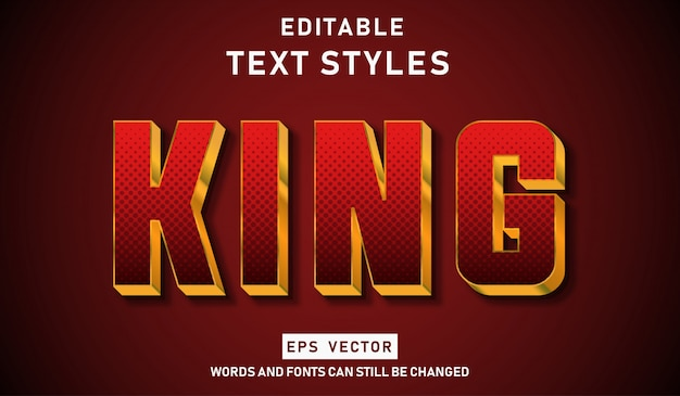 Editable text effect gold king