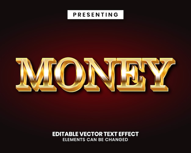 Editable text effect gold money style