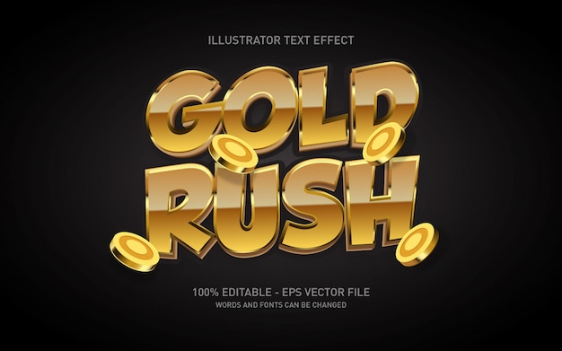 Editable text effect, gold rush style illustrations
