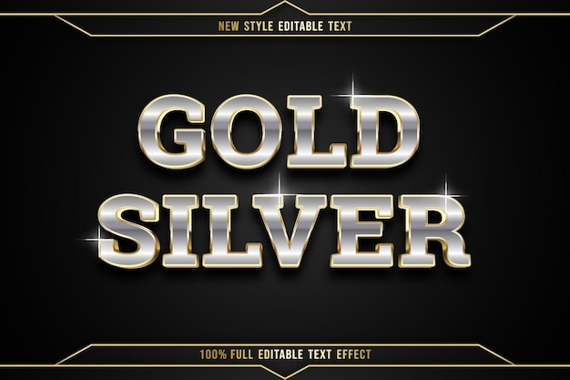 Editable text effect gold silver color silver and gold