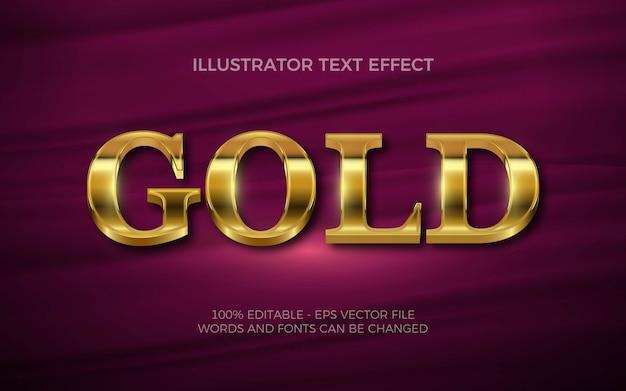Редактируемый текстовый эффект, иллюстрации в золотом стиле