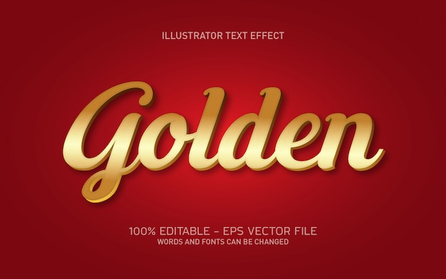 Editable text effect, gold style illustrations