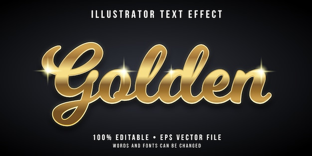 Editable text effect - gold style