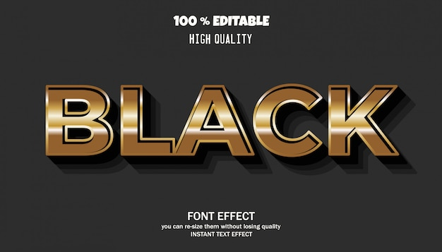 Editable text effect, gold style