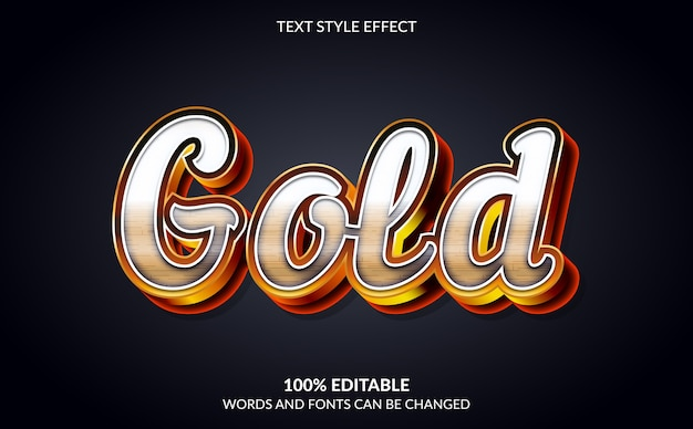 Editable text effect, gold text style