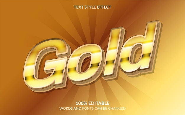 Editable text effect gold text style