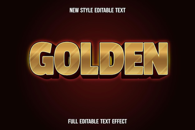 Editable text effect golden color gold and dark red
