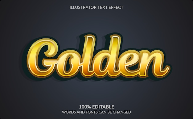 Editable text effect, golden text style