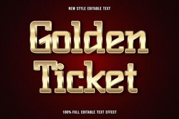 Editable text effect golden ticket color gold
