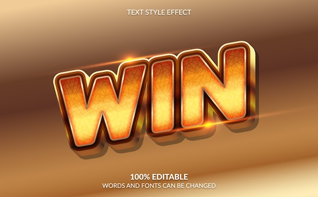Editable text effect, golden winner text style