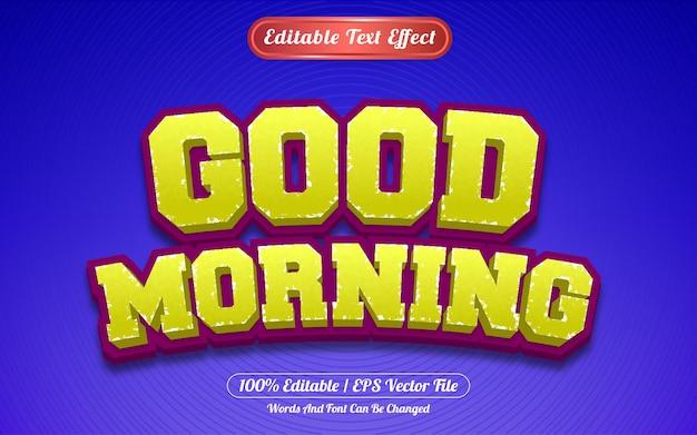 Редактируемый текстовый эффект доброе утро в стиле шаблона