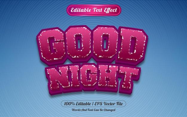 Редактируемый текстовый эффект спокойной ночи в стиле шаблона