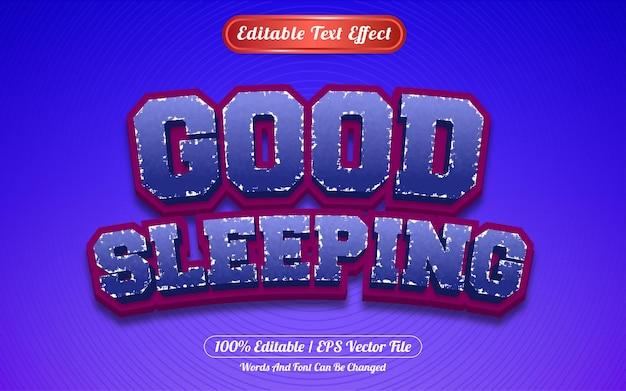 Редактируемый текстовый эффект хорошего сна в стиле шаблона