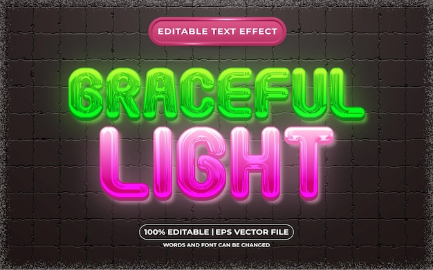 編集可能なテキスト効果優雅な光のテンプレートスタイル