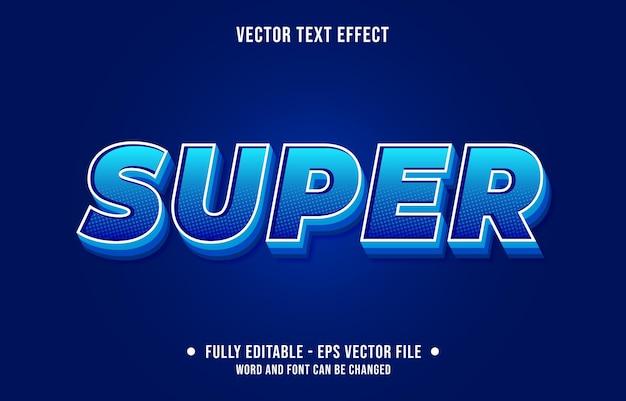 編集可能なテキスト効果のグラデーションブルーとスカイブルーのスーパーコミックハーフトーンスタイル