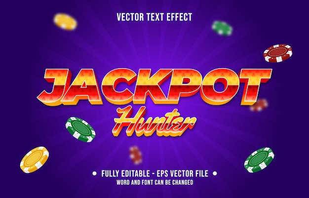 Editable text effect gradient color casino poker game style font effect template