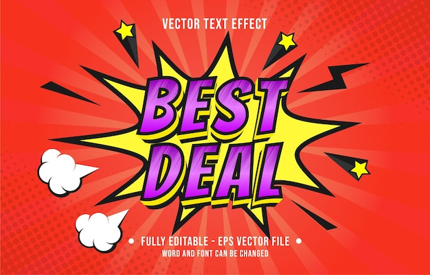 Editable text effect gradient color pop art comic style for digital and print media font effect template