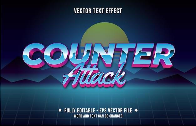 Editable text effect gradient color retro futuristic eighties style