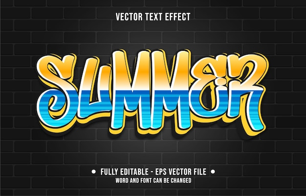 Editable text effect gradient color street graffiti wall style