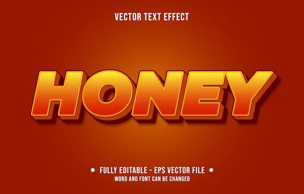 편집 가능한 텍스트 효과 그라데이션 주황색과 노란색 꿀 스타일