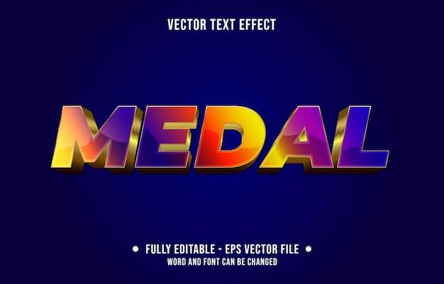 編集可能なテキスト効果のグラデーション紫と赤のメダルゴールドスタイル