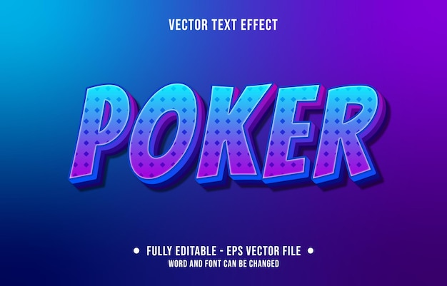 Editable text effect gradient purple and blue poker style