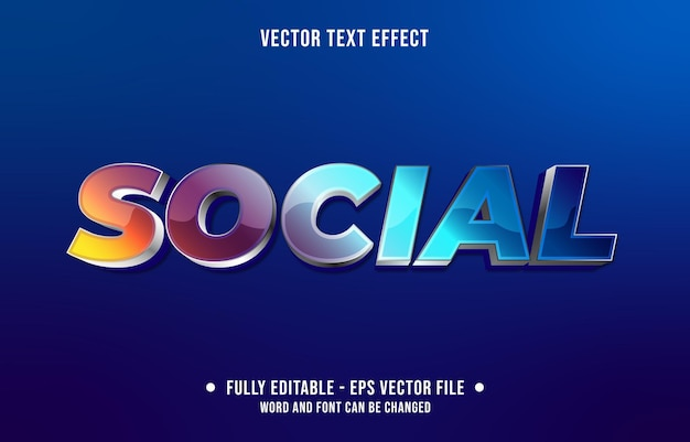 Editable text effect gradient purple and blue social style