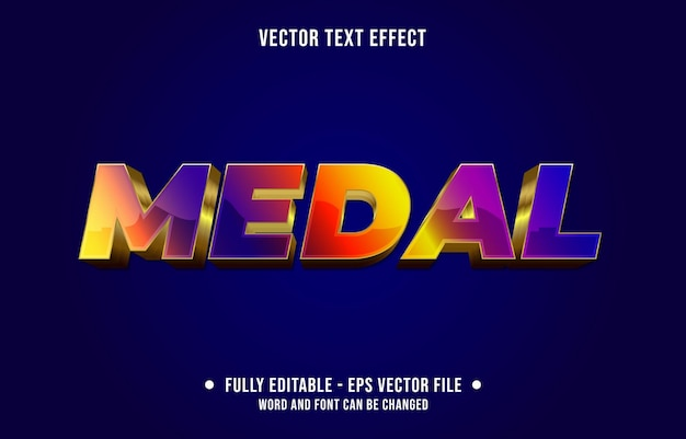 Editable text effect gradient purple and red medal gold style