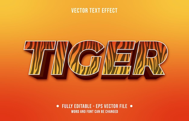 Editable text effect gradient style animal tiger skin pattern and orange color