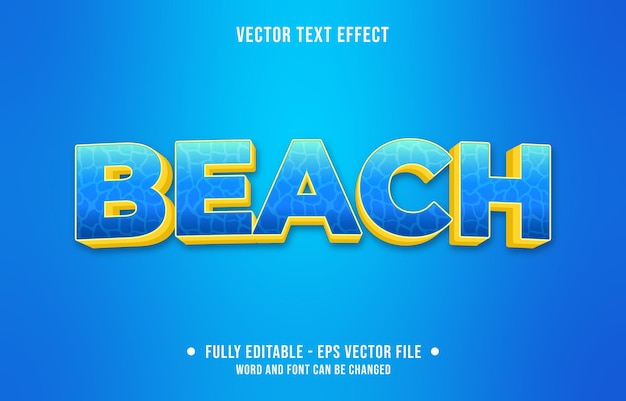 Editable text effect gradient style beach with water surface pattern and blue yellow color