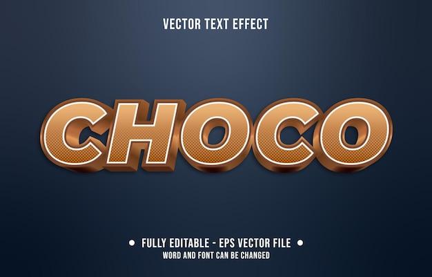 チョコレート色の編集可能なテキスト効果のグラデーションスタイルのチョコ