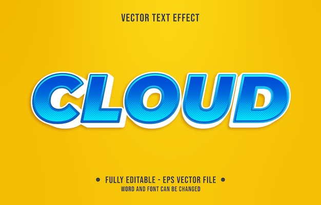 Editable text effect gradient style cloud with blue and white color
