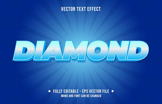 Editable text effect gradient style diamond with shiny pattern