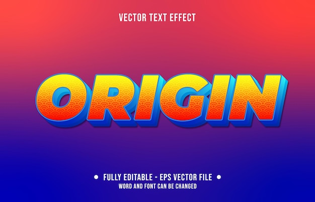 Editable text effect gradient style origin with traditional art pattern and red yellow color