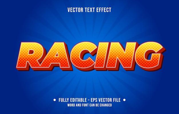Редактируемый текстовый эффект в стиле градиента, гоночный с рисунком гоночного флага