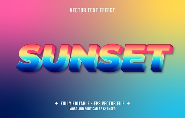 Editable text effect gradient sunset style