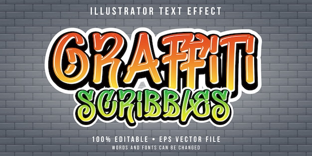 Editable text effect - graffiti on wall style