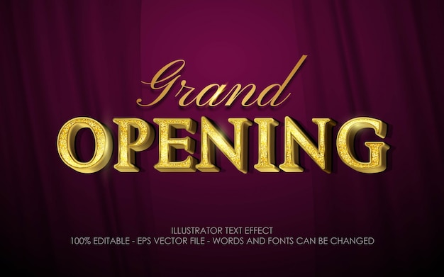 Editable text effect, grand opening style
