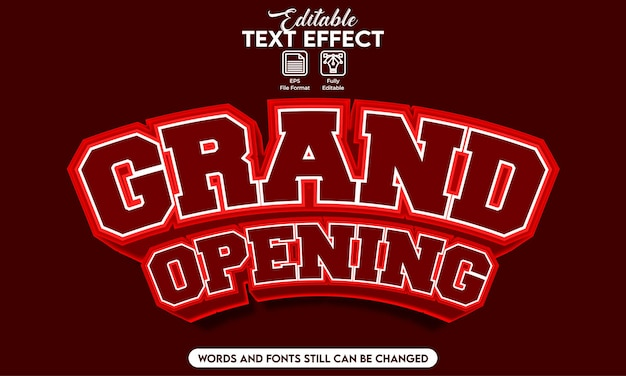 Editable text effect grand opening