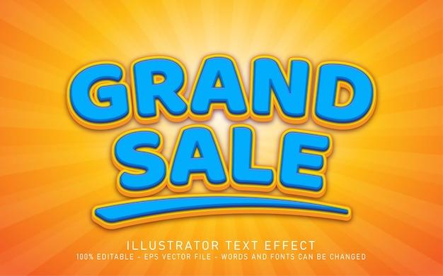 편집 가능한 텍스트 효과, grand sale 스타일 일러스트레이션