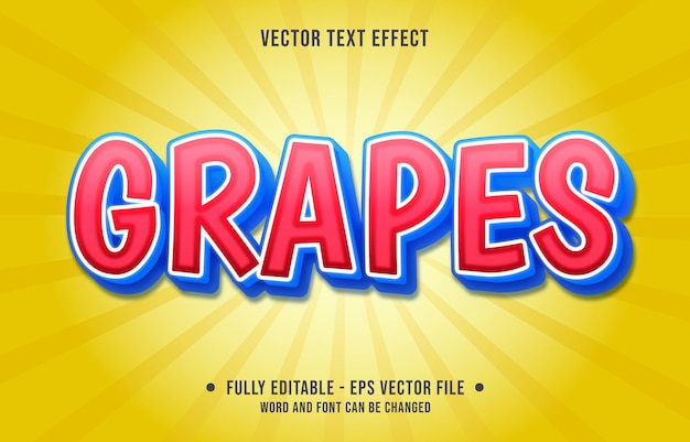 Editable text effect - grapes red and blue gradient color style